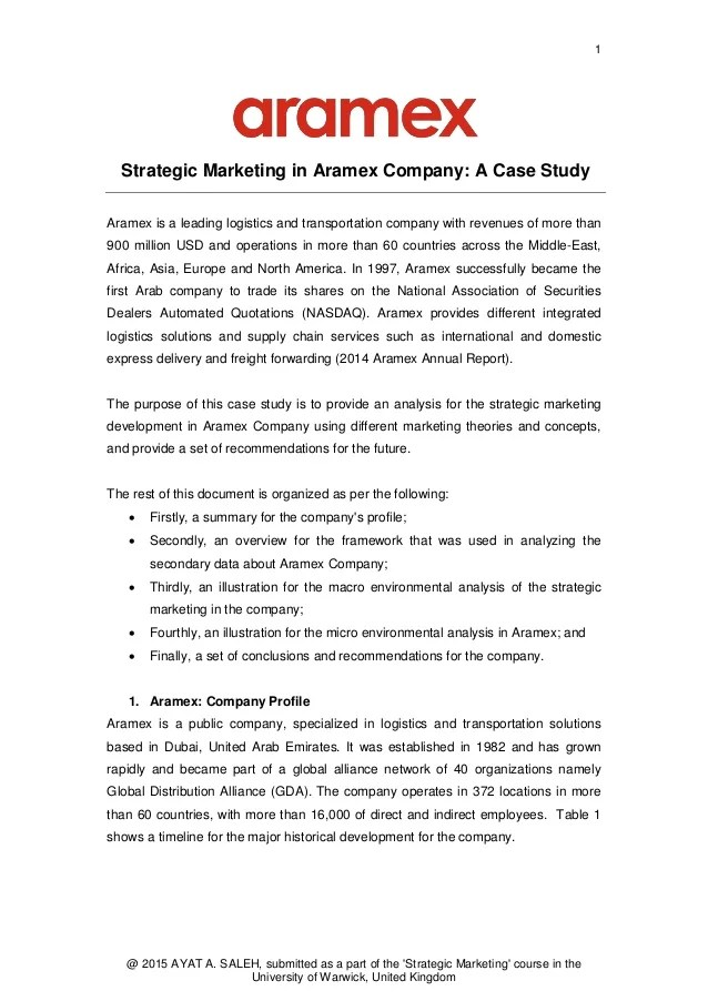 Strategic Marketing In Aramex Company A Case Study