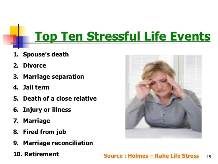 top 100 stressors in life