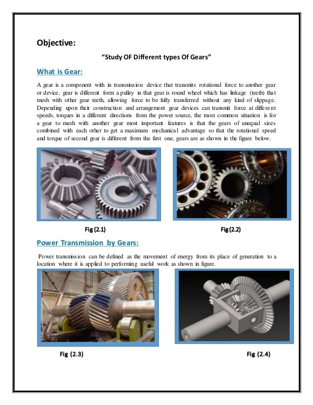Study of different types of Gears
