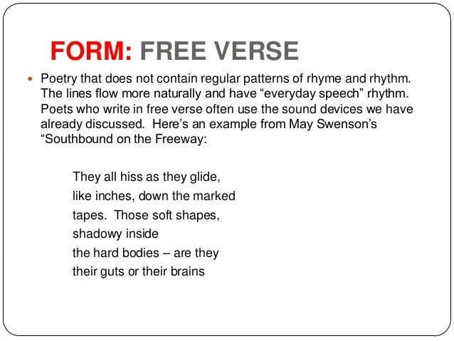 Examples Of Free Verse Poems With Metaphors Poemview
