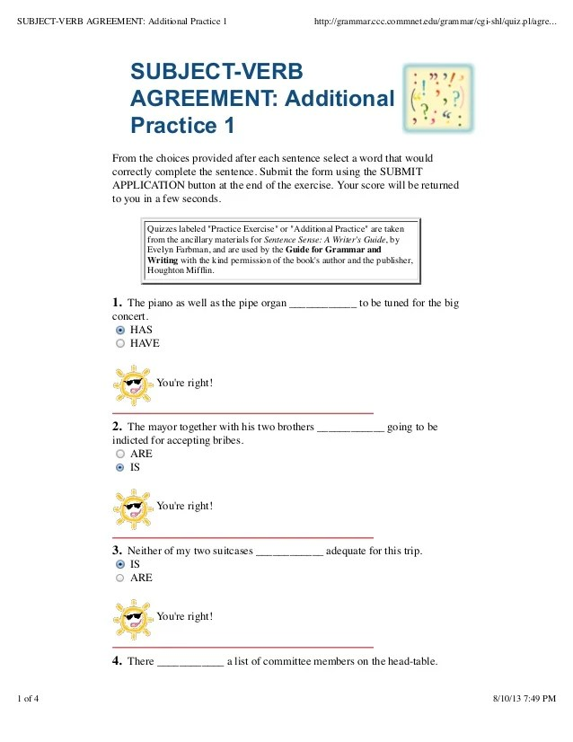 Subject verb agreement quiz click for details subject verb agreement