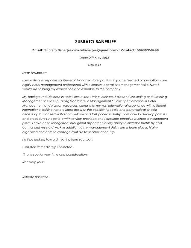 Subrato banerjee gm cover letter  cv