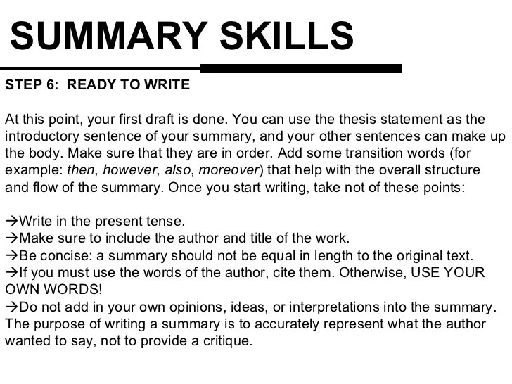 Summary Writing Skills