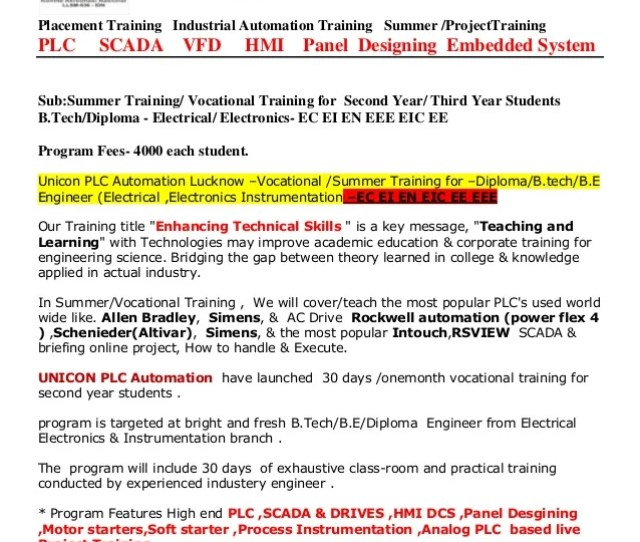 Unicon Plc Automation Iso 90012008 Certified Placement Training Industrial Automation Training Summer Projecttraining