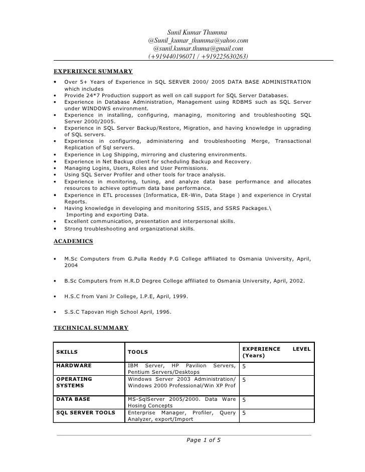 sample resume for 1 year experience in sql developer