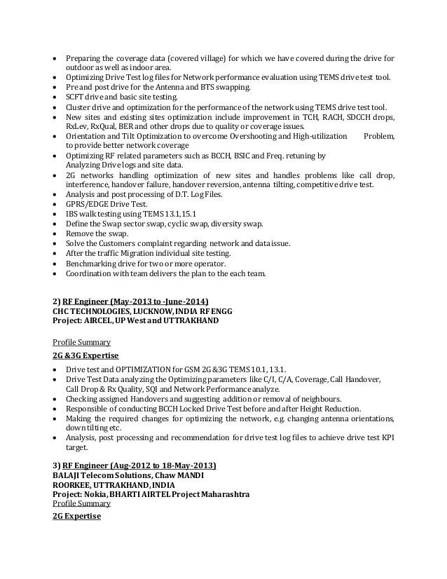 rf engineer resume objective sample