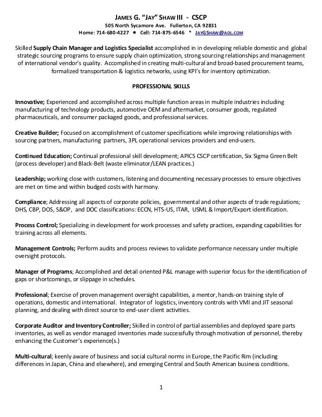 Supply Chain Resume Objective Supply Chain Resume Objective