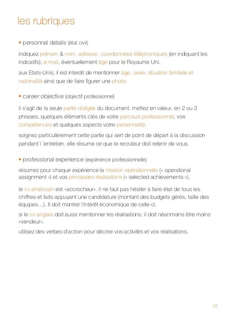 rubriques competences cv anglais
