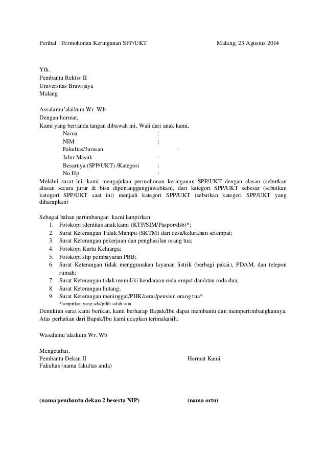 Surat Permohonan Keringanan Biaya Sekolah : surat, permohonan, keringanan, biaya, sekolah, Surat, Penurunan-ukt1