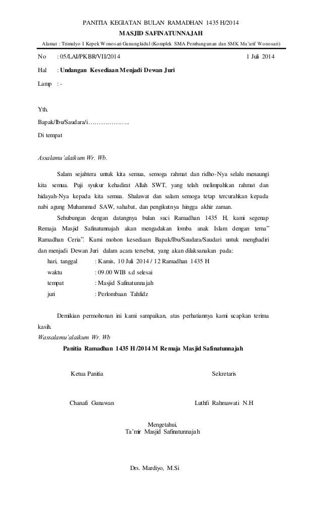 Surat Permohonan Juri : surat, permohonan, Surat, Untuk, Dewan