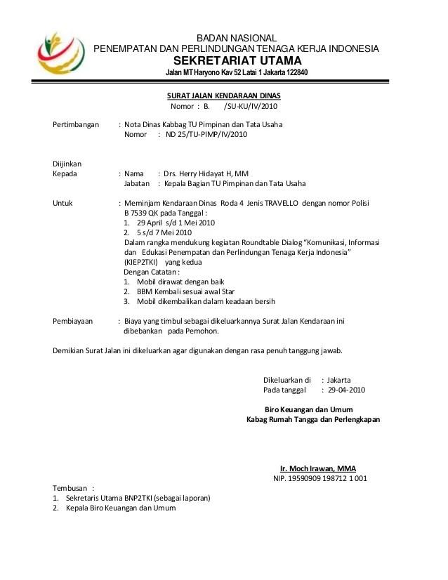 Surat Jalan Kendaraan Dinas