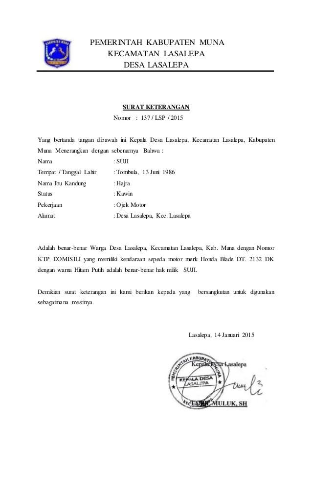 Contoh Surat Kuasa Pemblokiran Kendaraan