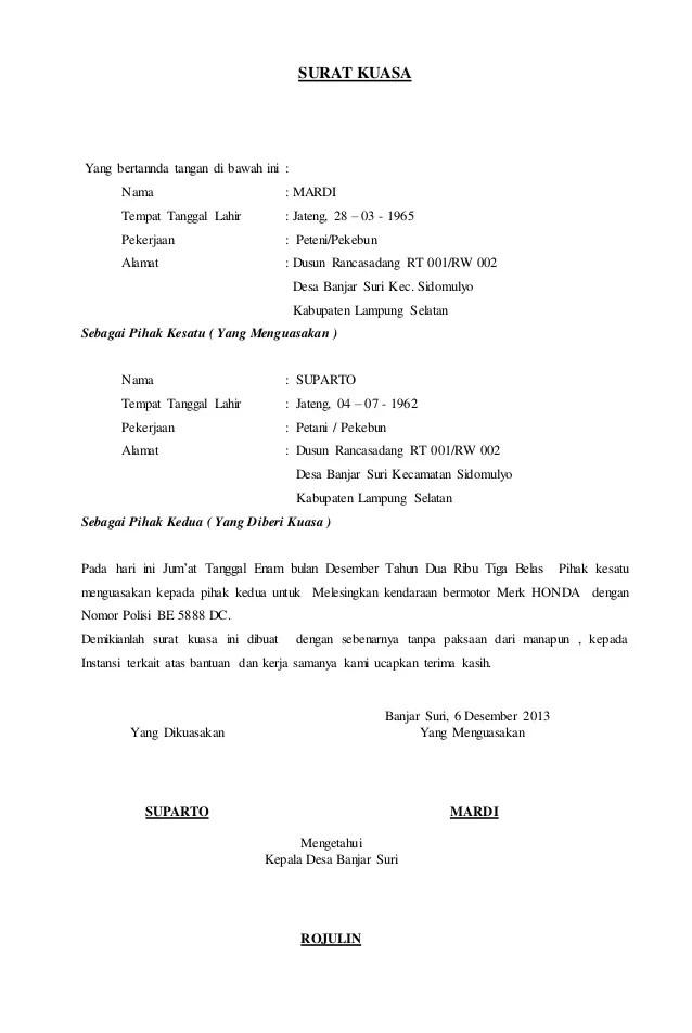 Contoh Surat Kuasa Balik Nama Bpkb Motor Contoh Iii Cute766