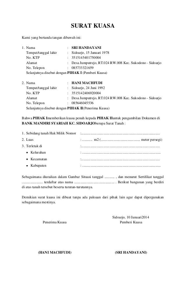 Adira Finance Contoh Surat Kuasa Pengambilan Bpkb Motor ...
