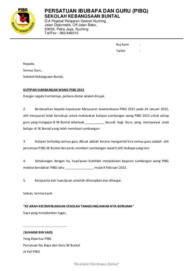 Contoh Surat Kutipan Sumbangan Pibg Cute766