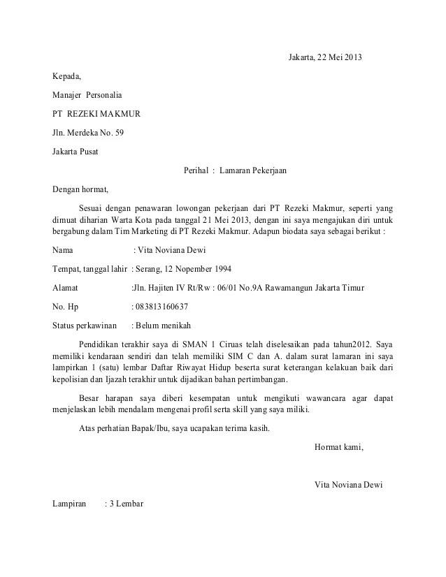Contoh Surat Lamaran Dalam Bentuk Block Style