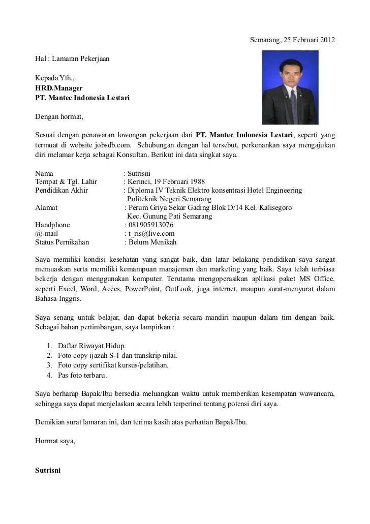 Contoh Resume Kerja Dalam Bahasa Indonesia Resume Maker Create