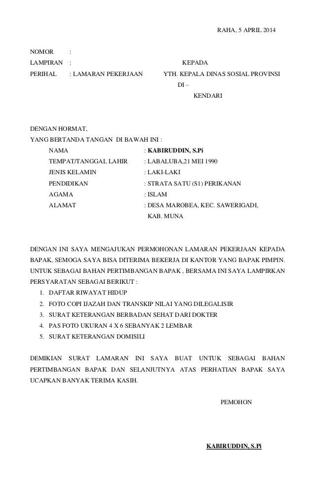 Contoh Surat Lamaran Kerja Di Kantor Dinas Perikanan Cute766