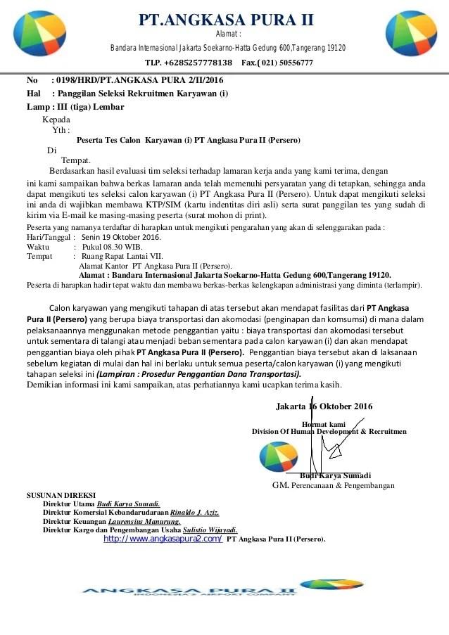 Contoh Surat Lamaran Kerja Pt Angkasa Pura Ii Cute766