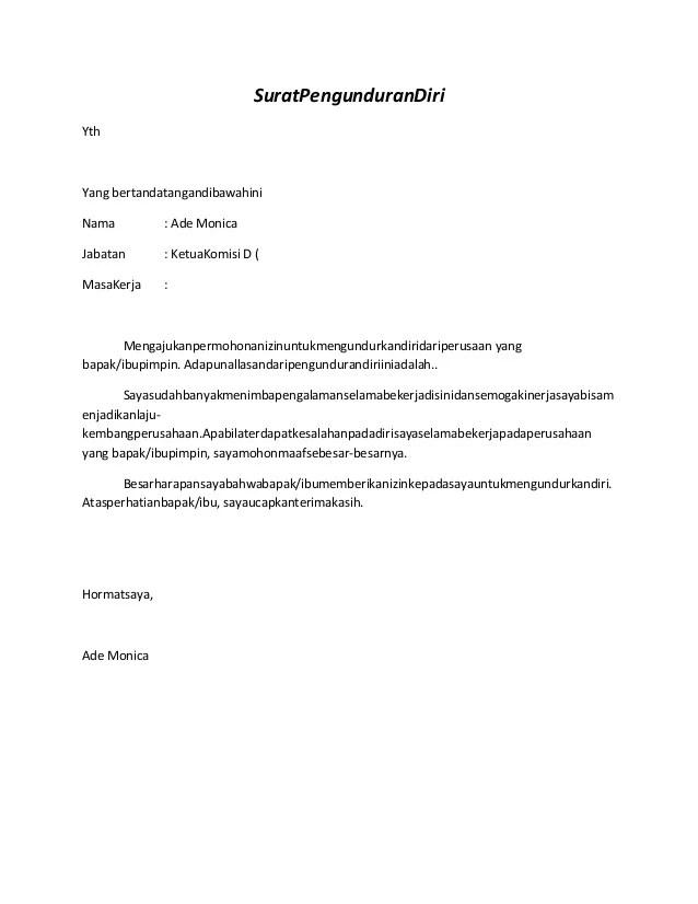 Contoh Surat Pengunduran Diri Bendahara Bos Cuitan Dokter