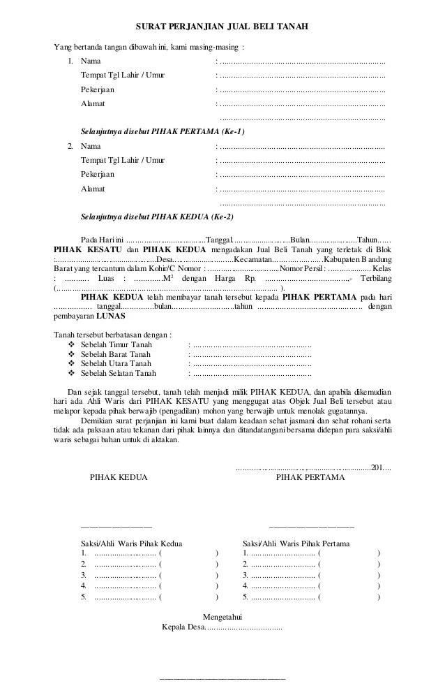 Surat Pernyataan Jual Tanah : surat, pernyataan, tanah, Surat, Perjanjian, Tanah