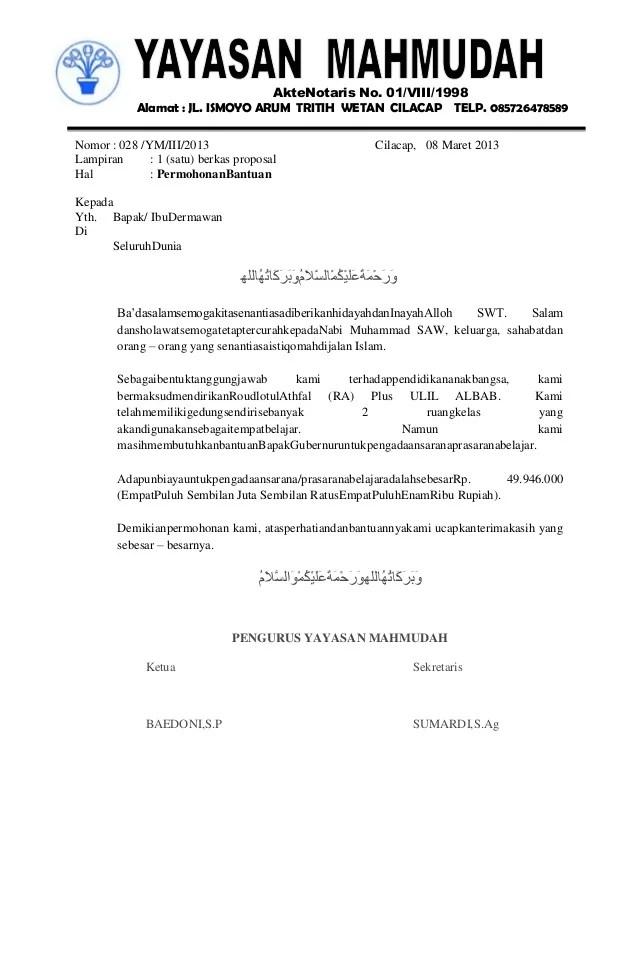 Contoh Surat Permohonan Bantuan Dana Proposal Lalod