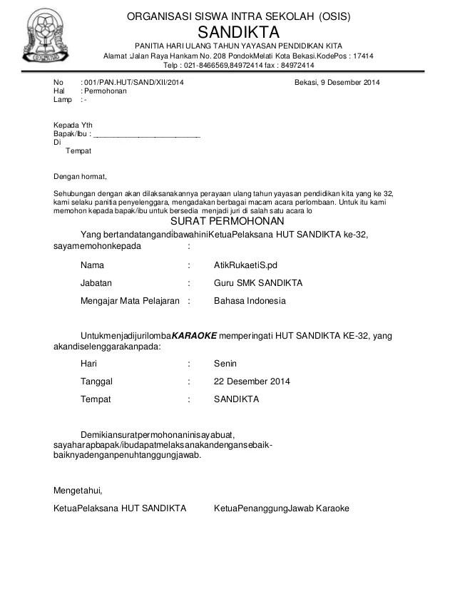 Surat Permohonan Juri : surat, permohonan, Surat, Permohonan, Lomba