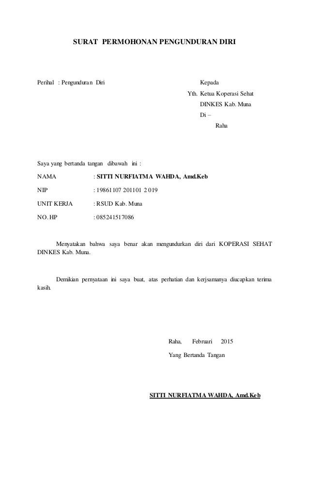 Contoh Surat Pengunduran Diri Dari Jabatan Contohsurat Lalod