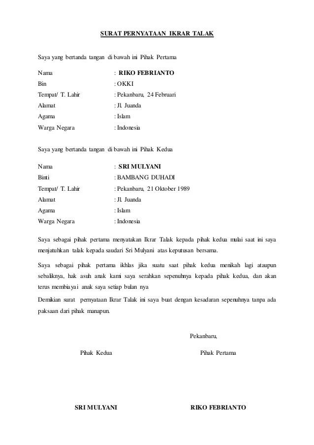 Contoh Surat Cerai Talak Suami Dan Istri Beserta Formatnya Info Kua Cute766