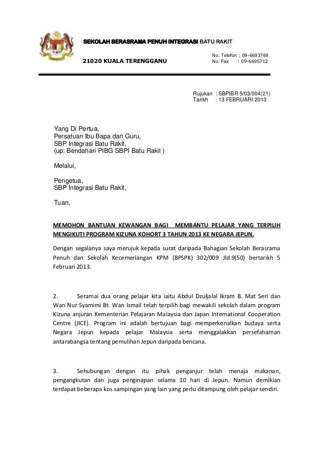 Surat Rasmi Permohonan Bantuan Kewangan Surat Gg Cute766