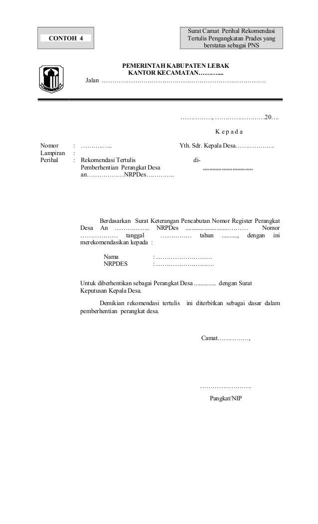 Contoh Surat Pengunduran Diri Dari Bumdes Download Contoh Lengkap Gratis