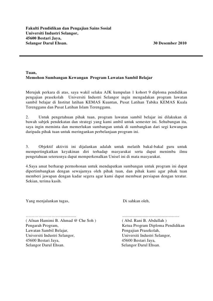 Surat Rasmi Memohon Sumbangan Kewangan Rasmi L Cute766