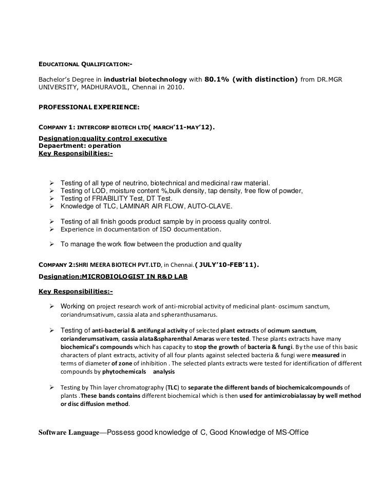 Resume Format For Qa Pharma | Free Document Resume Samples