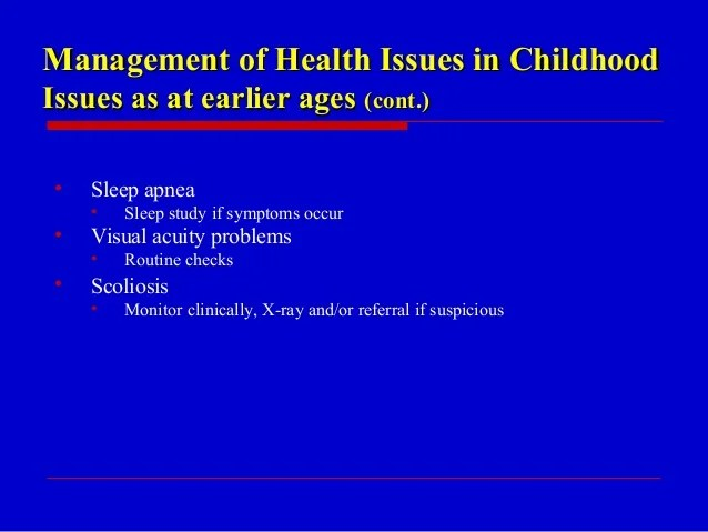 Overview of health issues for children with PWS