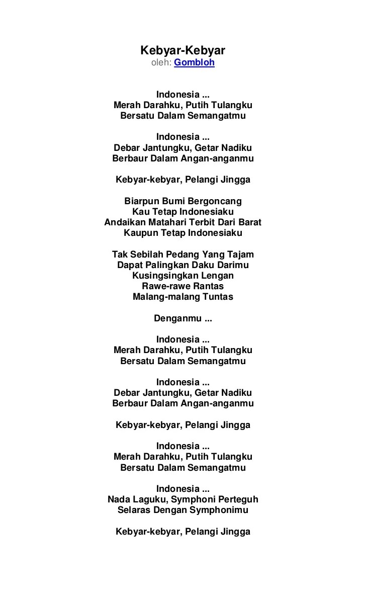 Lirik Lagu Gombloh - Kebyar-Kebyar - Lirik Lagu Indonesia