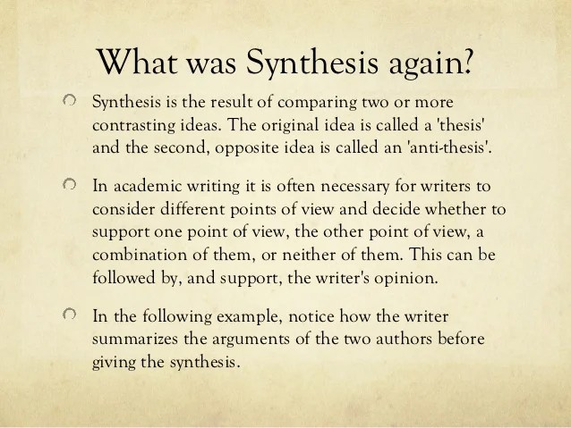 Topics For Synthesis Essay Synthesis Essay Tips College Essays