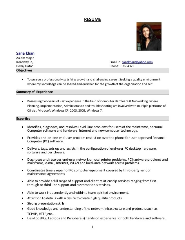 System Administrator Resume Format