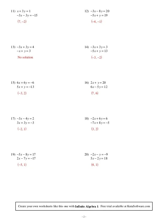 Printables. Solving Systems Of Equations Worksheets
