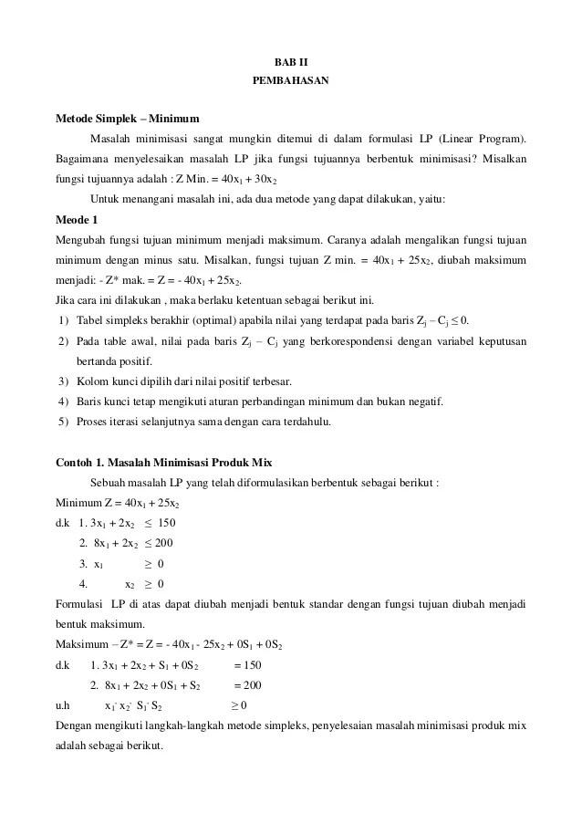 Contoh Soal Metode Simpleks Kasus Minimum : contoh, metode, simpleks, kasus, minimum, Metode, Simplek, Minimasi