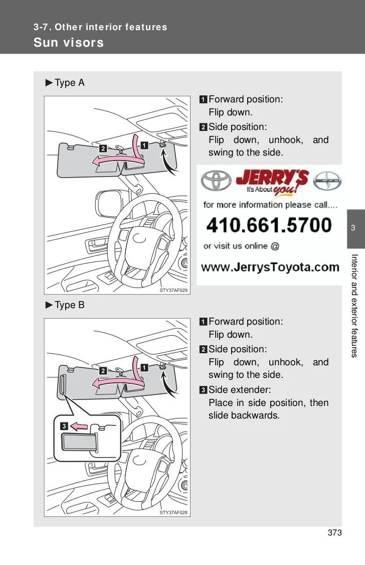 hight resolution of 2012 toyota tacoma interior features 3 7 other interior featuressun visors type a
