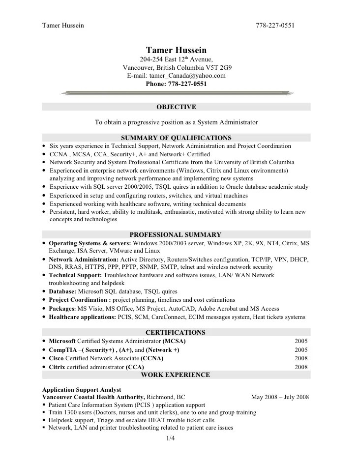 System Administrator Resume Format Download | Professional ...