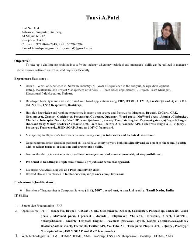 drupal developer resume example