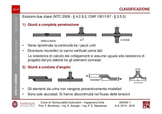 Tecnica delle costruzioni  UNIONI acciaio  Parte 1