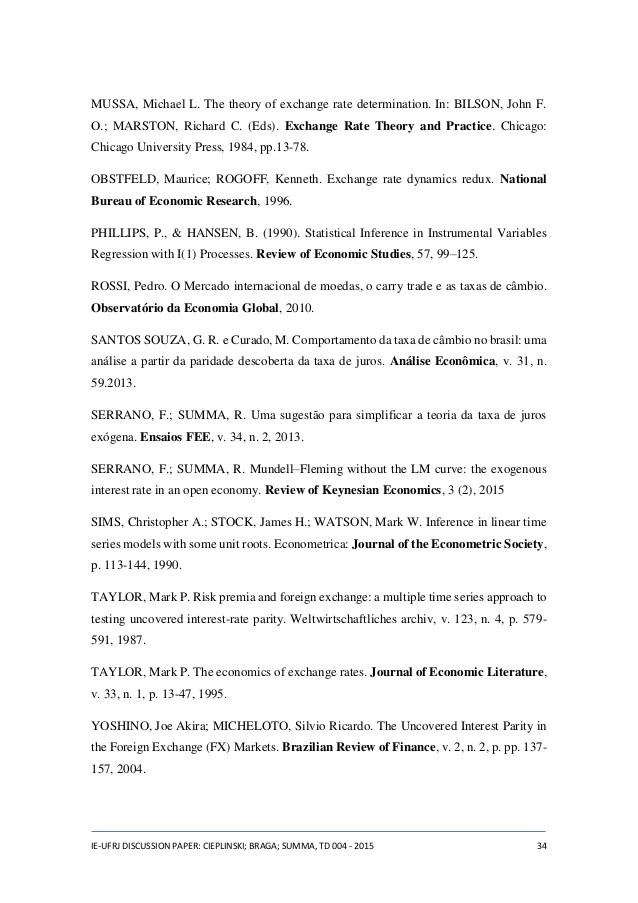 Estimao do teorema da paridade descoberta da taxa de juros para o B