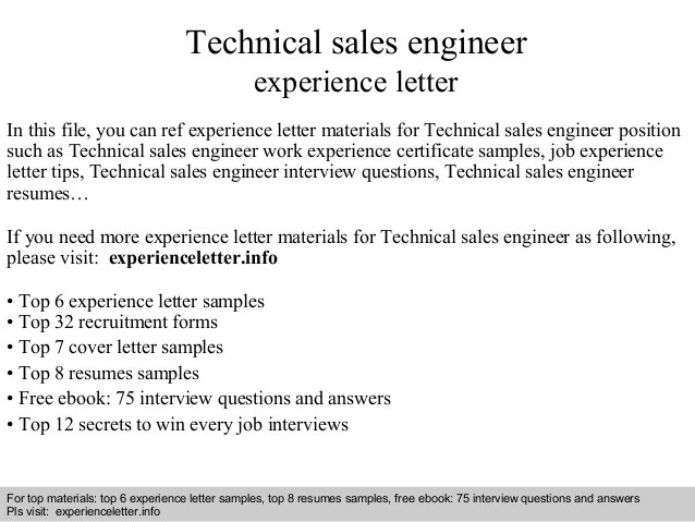 Technical Sales Engineer Experience Letter