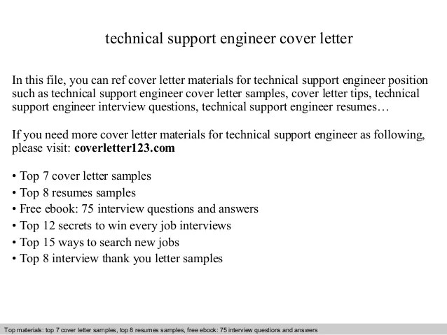 Technical Support Engineer Cover Letter
