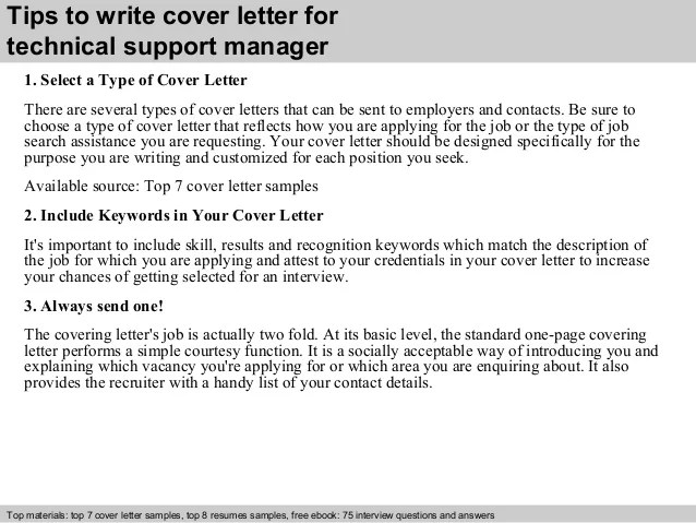 Technical support manager cover letter