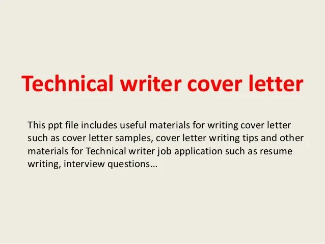 Technical writer cover letter