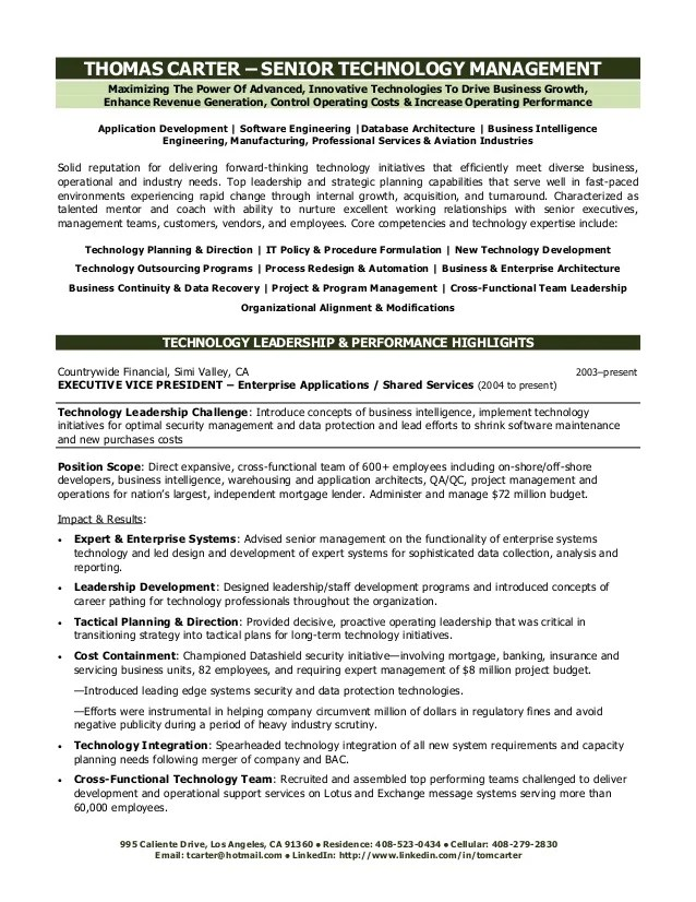 Technology Executive Resume