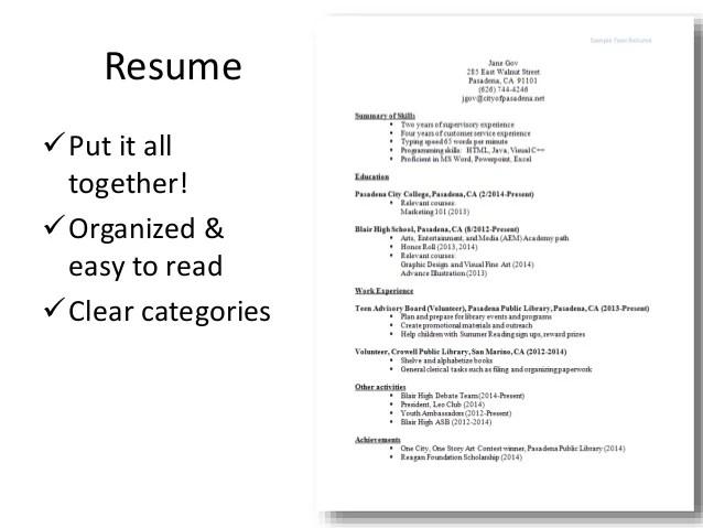 resume writing workshop materials